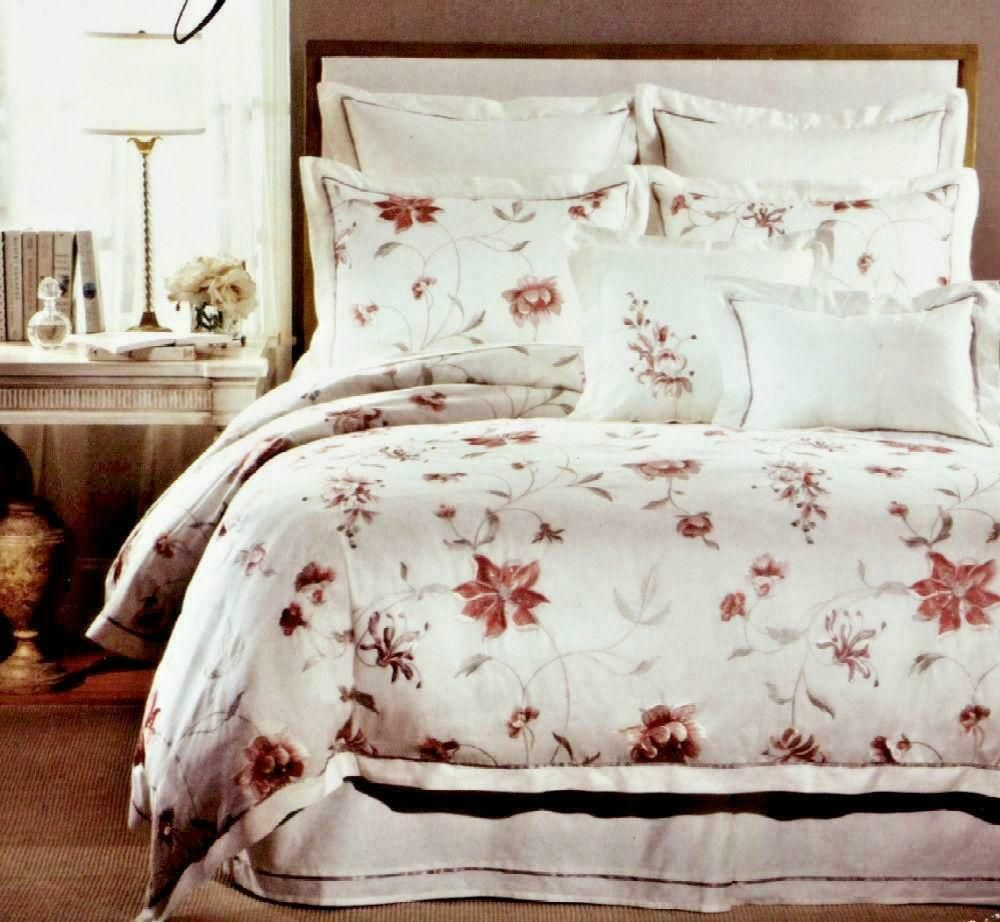 Raymond Waites Palace Full Queen Embroidered Floral Duvet Shams