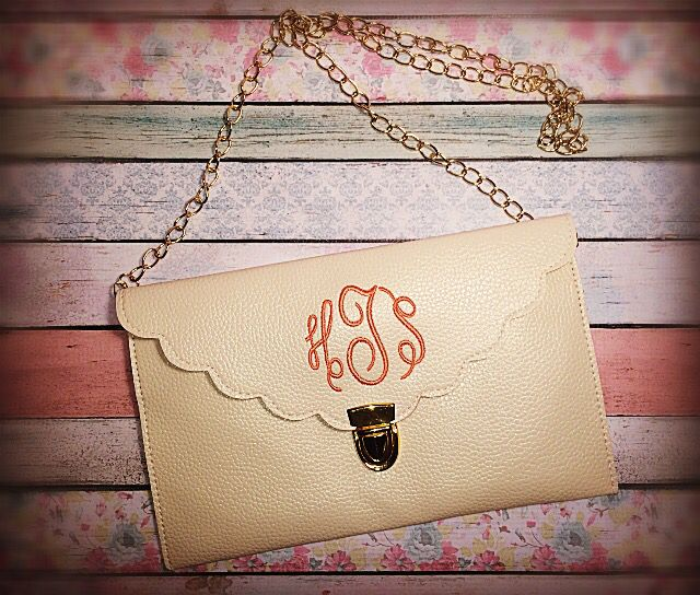 Monogrammed Scallop Clutches from Funkykandoo. Check us out on Instagram and Facebook.
