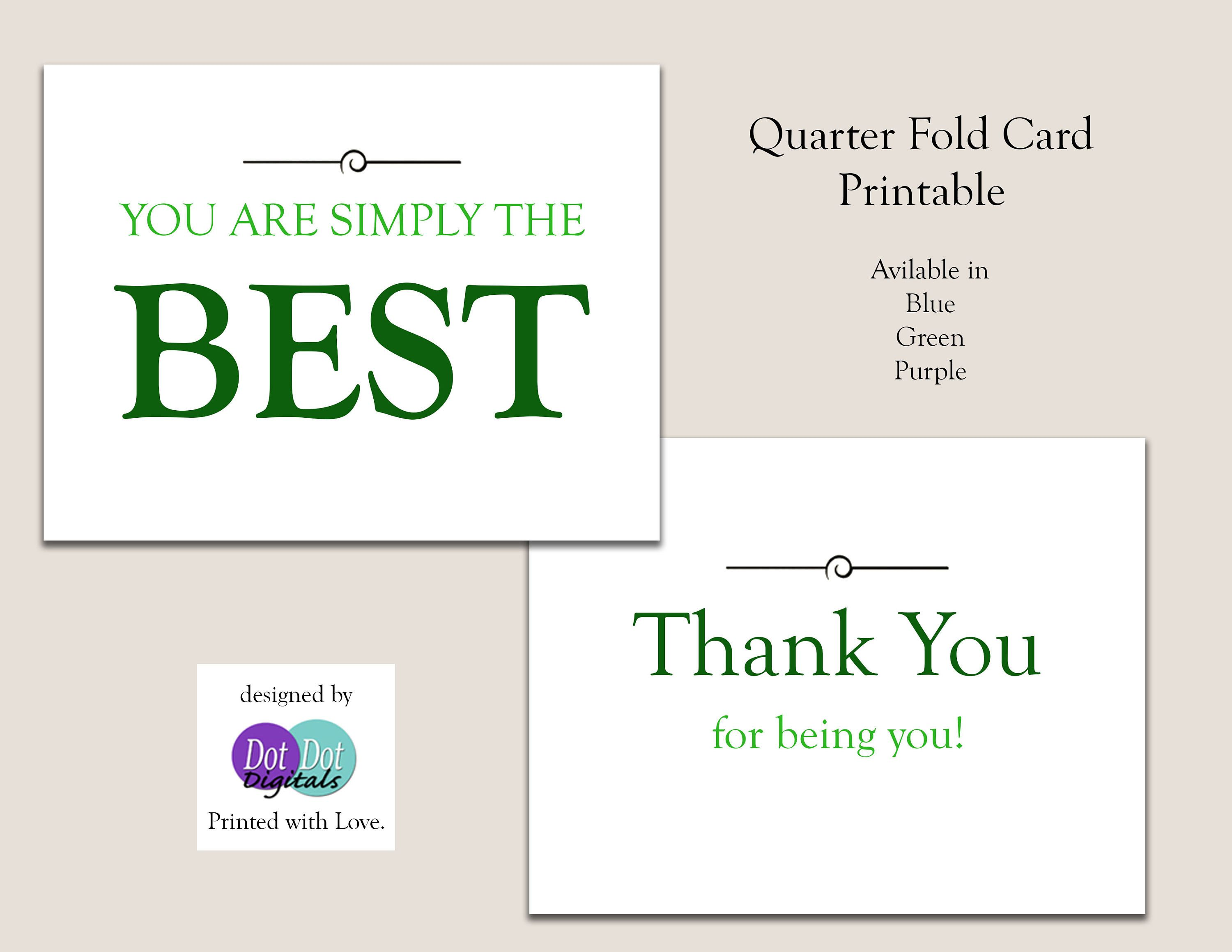 You Are Simply the Best Thank You Card PDF Printable by ...