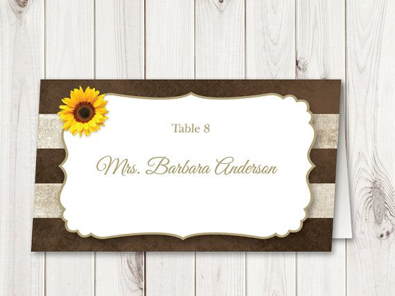 Sunflowers Wedding Table Seating Name Place Cards