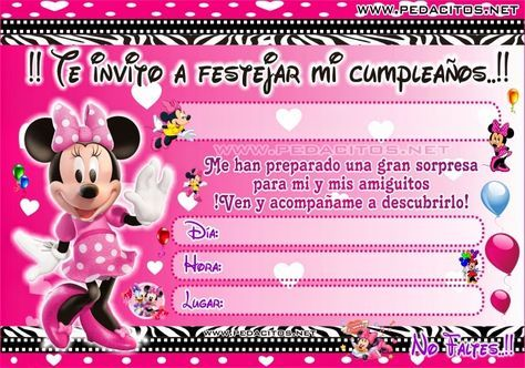 Tarjeta De Cumpleaños Minnie Bebe Para Editar Imagui