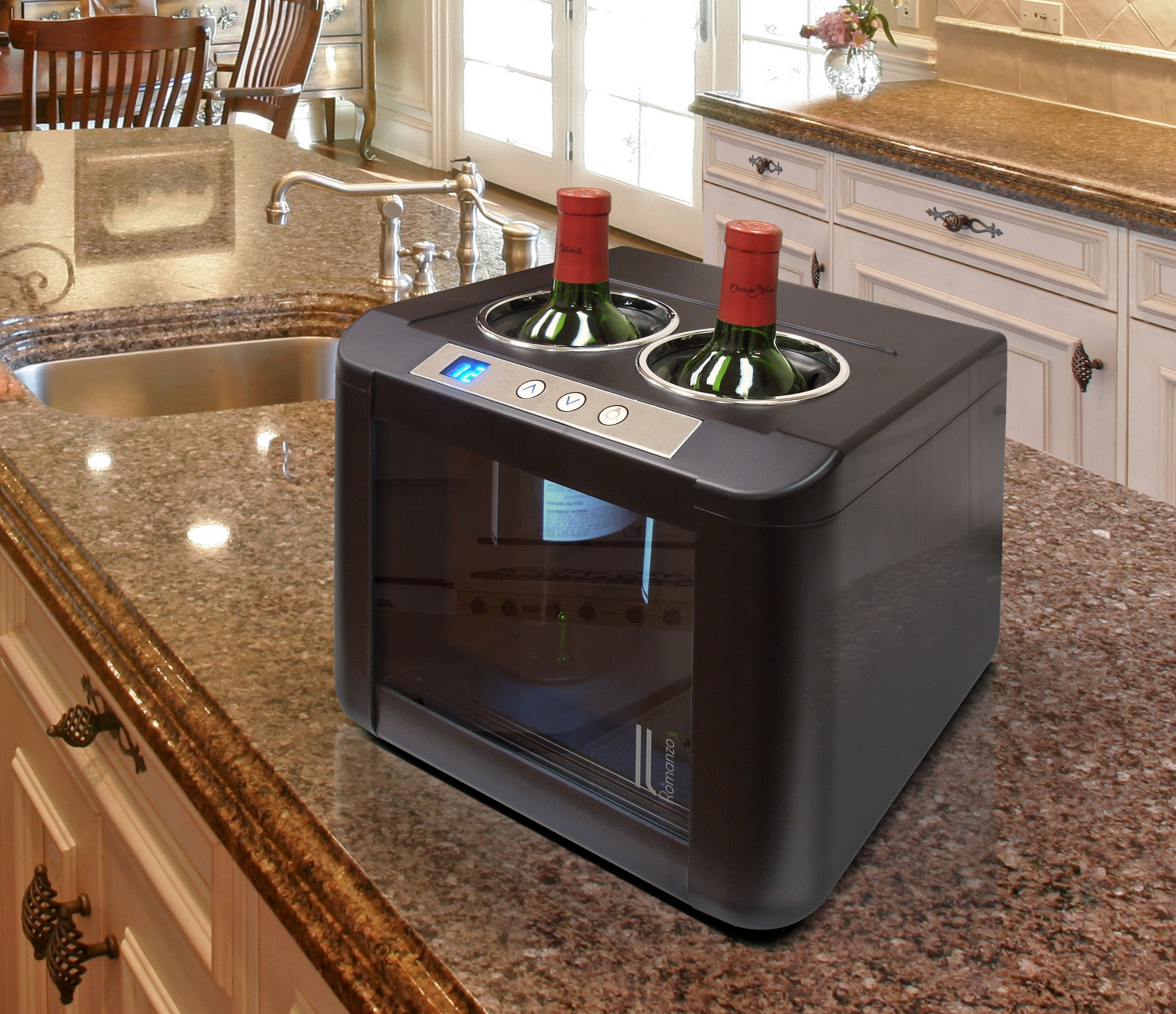 The Modern European Design Of The Il Romanzo 2 Bottle Thermoelectric Open Wine Cooler Creates A Stunning Display While Ke Wine Opener Wine Cooler Italian Wine