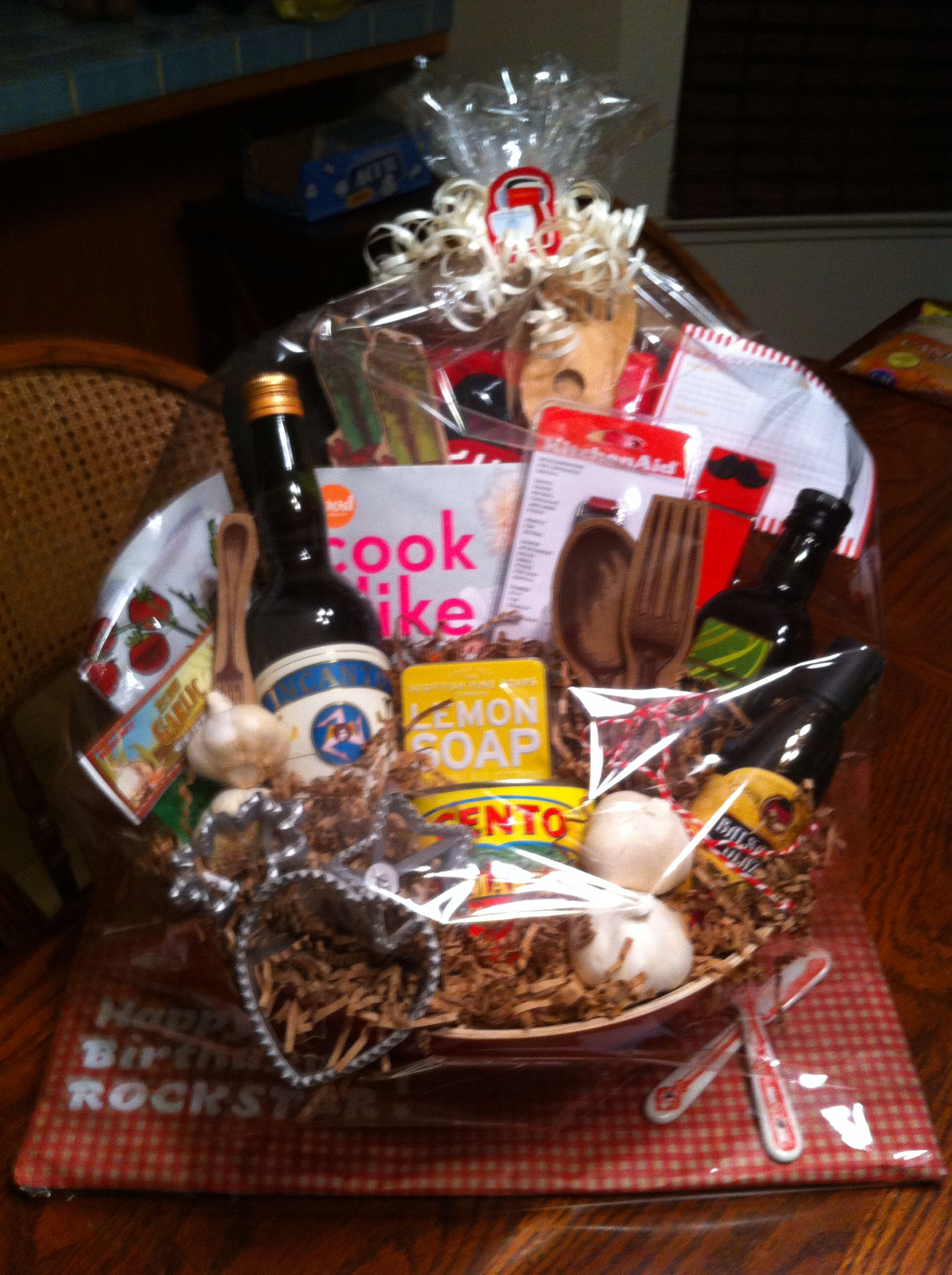 Cook like a rockstar italian cooking themed basket with