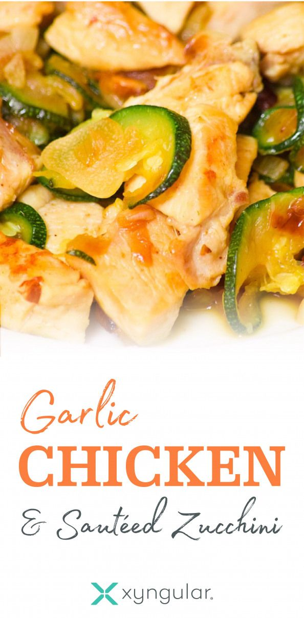 A healthy Garlic Chicken & Sauteed Zucchini recipe approved for the Jumpstart and Low Carb meal plans.