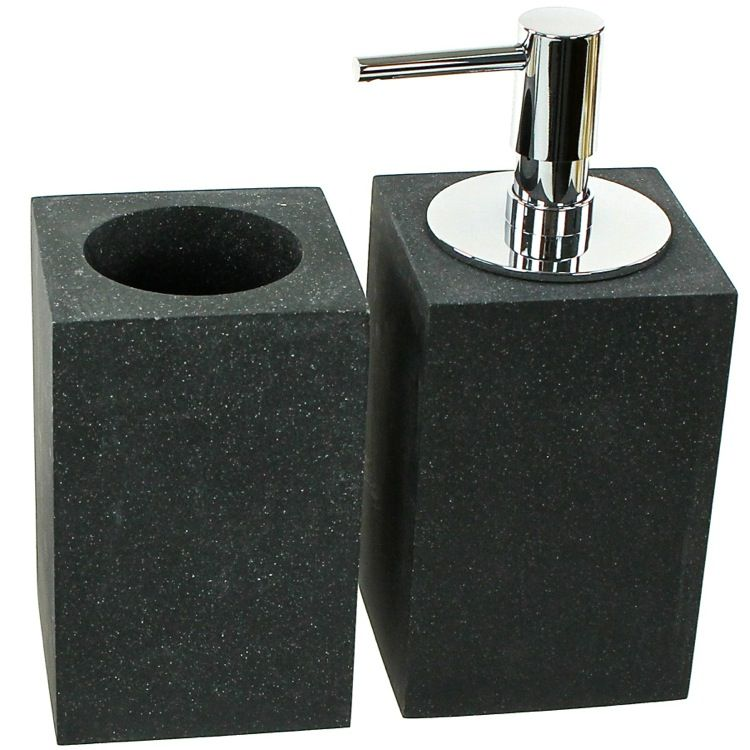 Fashionable Black Bathroom Accessory Set Made From Thermoplastic Resins And Sandstone Includes Toothbrush Holder Soap Dispenser