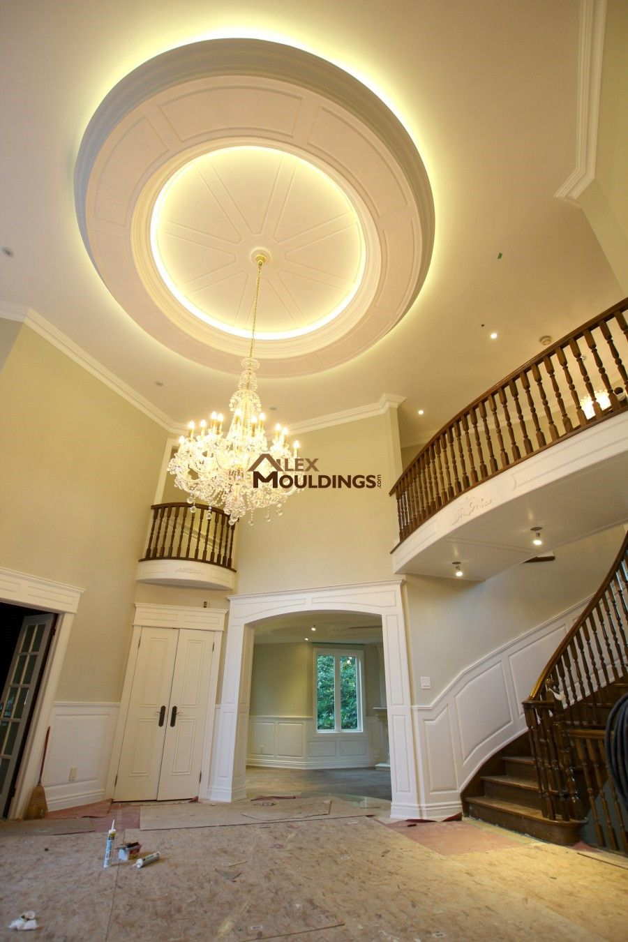 Hallway wainscoting, ceiling circle design with led lighting ...