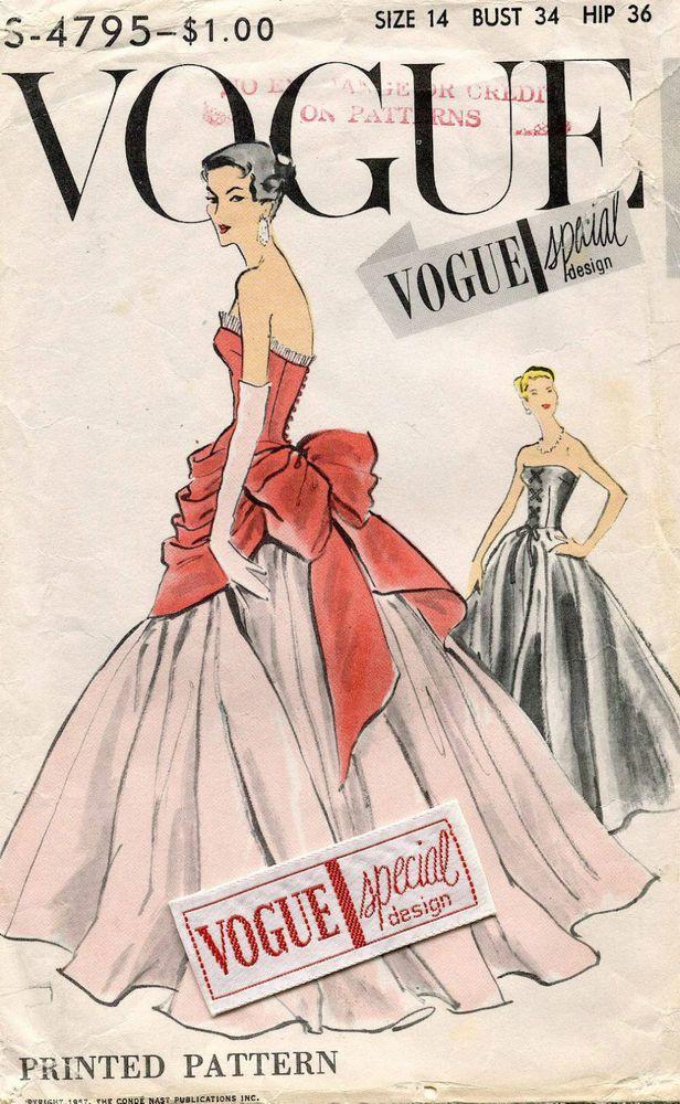 bd3945018726 1950 s VTG VOGUE Misses  Dress Overbodice w Pannier w Label Pattern 4795  Size 14