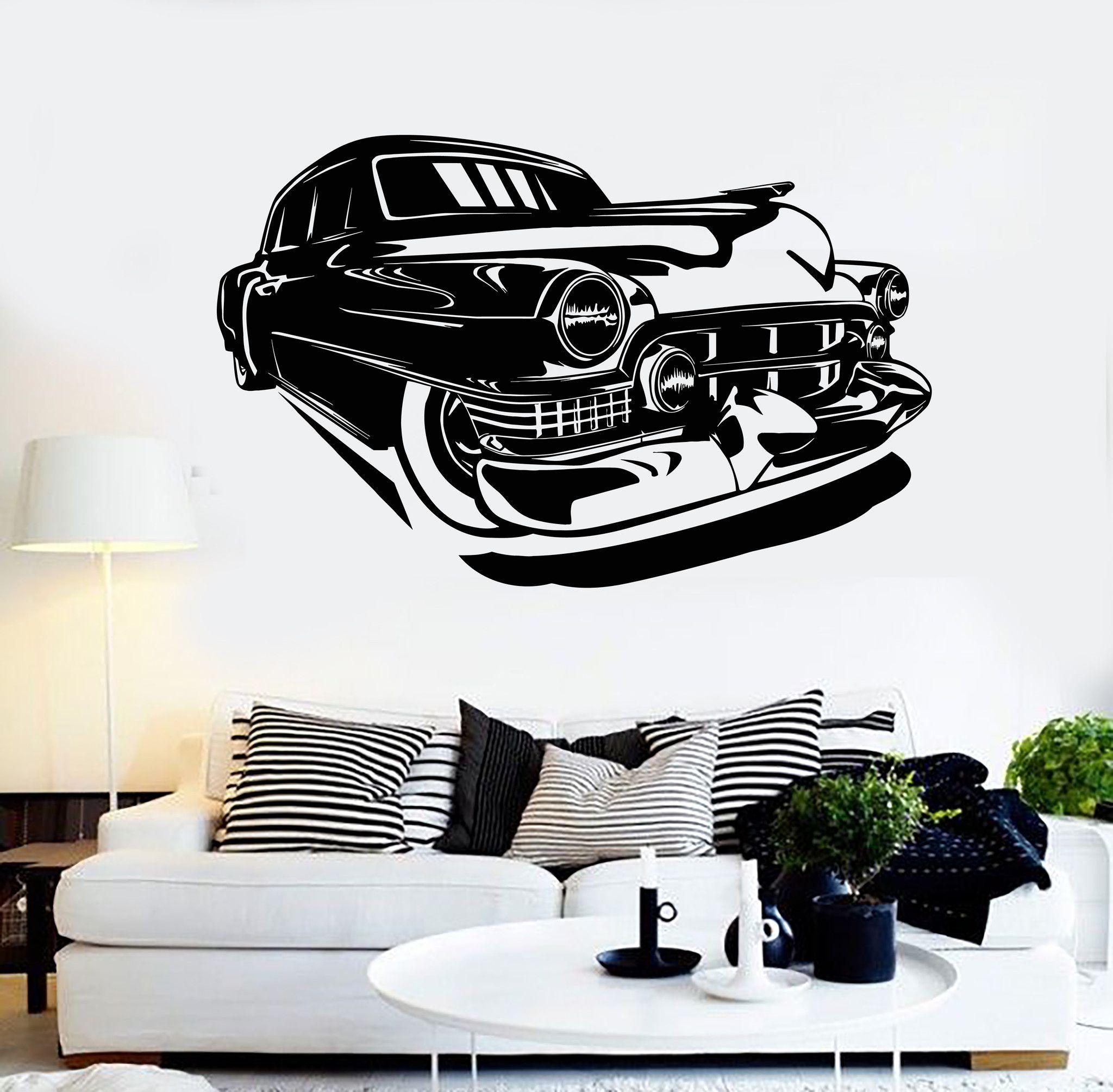 Vinyl Wall Decal Vintage Old Car Garage Decor Stickers Mural - Custom vinyl wall decals for garage