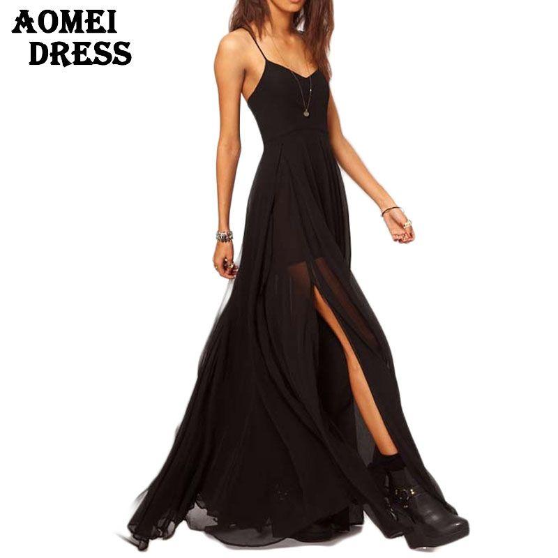 Vestido largo algodon negro