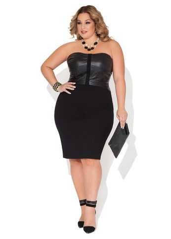 ashley stewart pleather bustier ponte dress | fatshionistas - plus