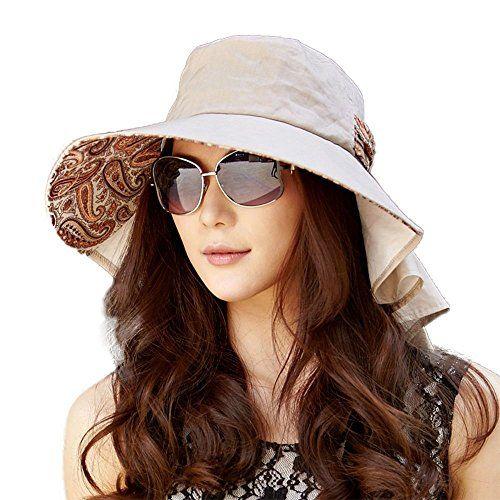 25a2cc5ce3a Siggi Womens Wide Brim Summer Sun Flap Cap Hat Neck Cover... New Siggi  Womens Summer Flap Cover Cap Cotton UPF 50 Sun Shade Hat with Neck Cord