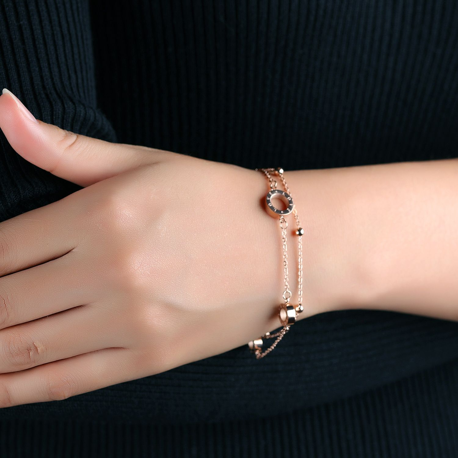 double layer rose gold bracelet womenus jewelry pinterest