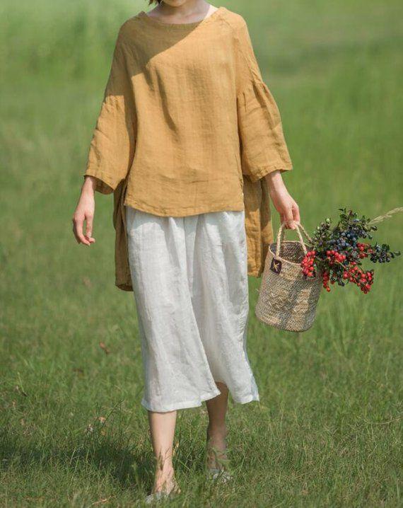 Women Oversize Knitted shirt, cotton top, Women Bat shirt, Tunics, Beige blouse