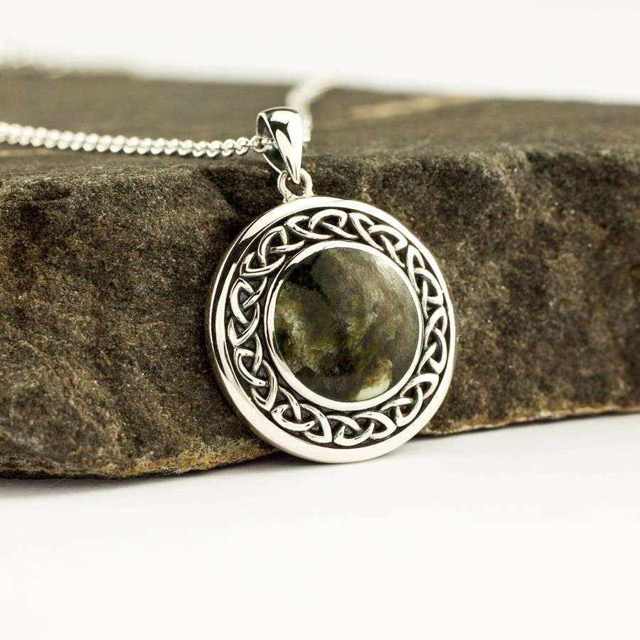 Celtic Necklace Sterling Silver Connemara Marble