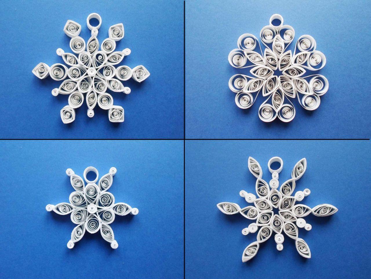 Fiocchi Di Neve Di Carta Tutorial : Set of paper quilled snowflake decorations fiocchi di neve