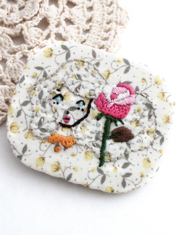 Brooch - Embroidery Brooch - Brooch Pin - Vegan Brooch - Brooch - Girl Brooch - Embroidery Girl - Vegan - Handmade Embroidery - Girl Brooch by MyPrettyBabi on Etsy