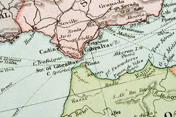 This Antique Map Shows The Strait Of Gibraltar With Spain Pink
