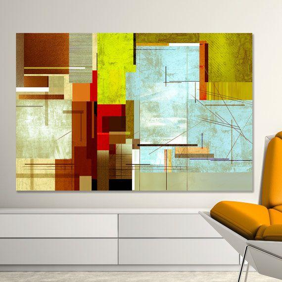 Abstract art urban mid century modern wall by coolstuffartshop also print golden colors large rh pinterest