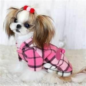 Coat Duffle Dog Clothes Check Hooded Jacket Shih Tzu Pink Dog