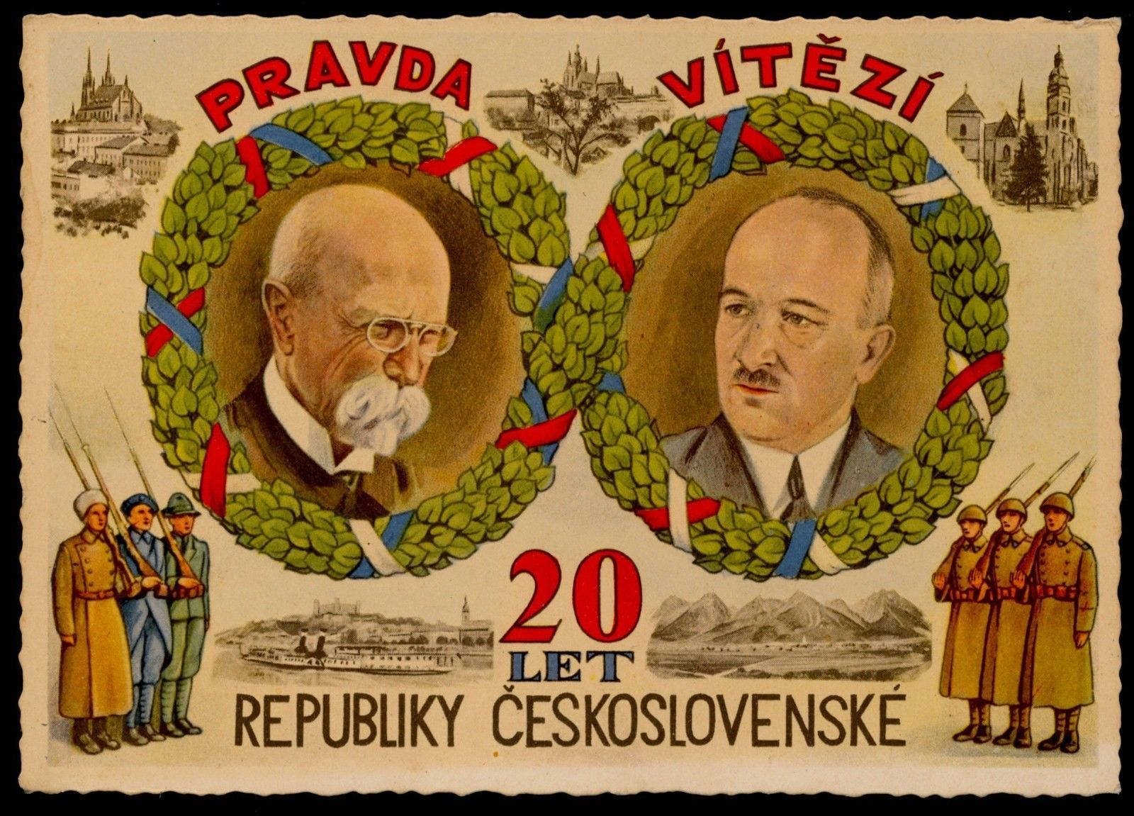 Czechoslovakia 20-Anniversary,Soldiers,Benes&Masaryk,Vintage Postcard 1938 | Collectibles, Postcards, Royalty | eBay!