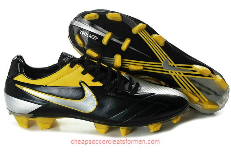 Nike T90 Laser IV FG Soccer Cleats Black Silver Yellow