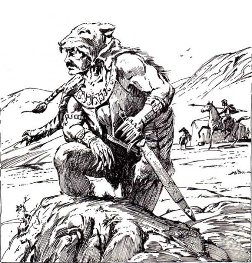 The Tiger Cloak of Chakyik, fashioned from the complete hide of an adult tiger, causes the wearer to enter a berserk rage in melee with a +3 strength bonus. (Jeff Easley from AD&D Greyhawk Adventures, TSR, 1988.)