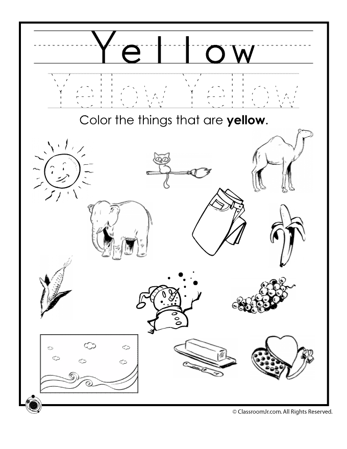 Color yellow worksheet woo jr kids activities