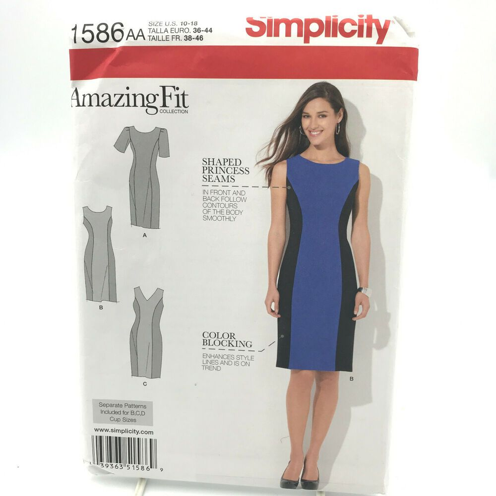 Simplicity 1586 Womens Fit Dress Sewing Pattern Sizes 10-18