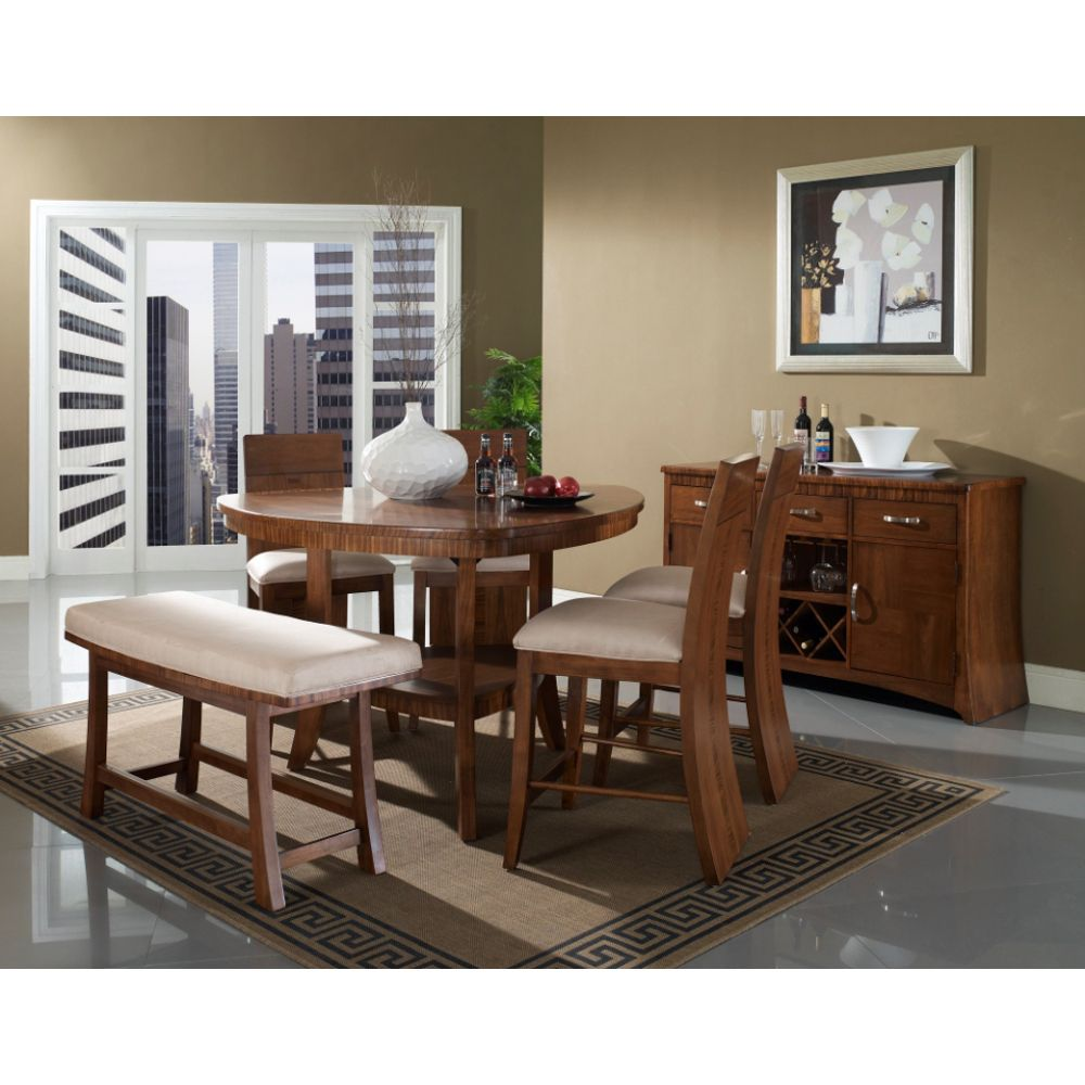This Somerton Dwelling Milan 6 Piece Counter Height Dining Set Includes  Milan Counter Height Table + Milan Bar Chairs + Milan Bench.