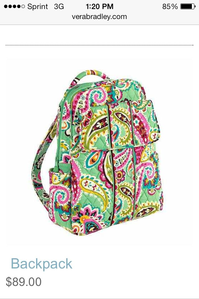 bcc94a96a5 I want this ☺ Vera Bradley Backpack