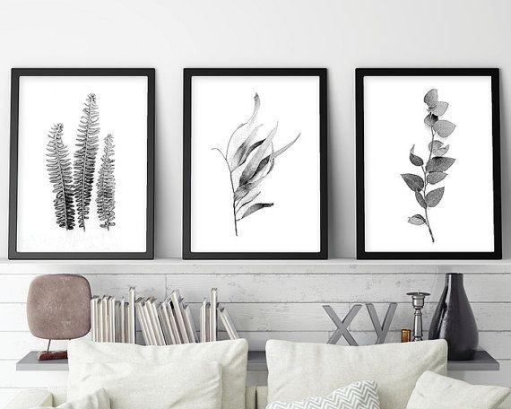 Downloadable Set Of 3 Botanical Prints Black White Monochrome Printable Art Australian Gum Leaves Fern Fronds Print Set Wall Art Wall Decor Prints Triptych Wall Art Scandinavian Print