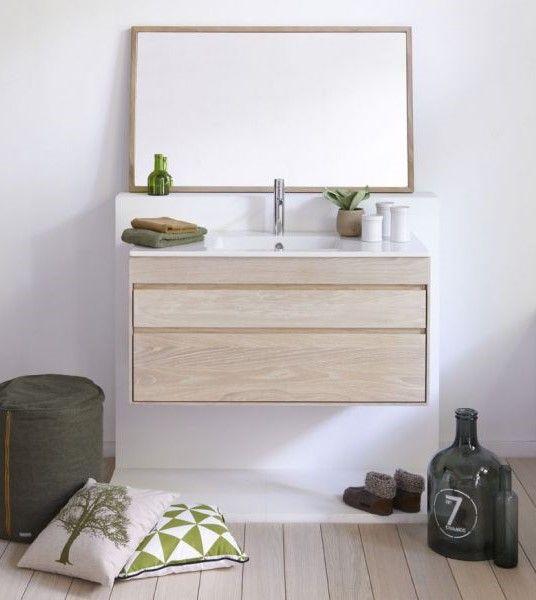 Meuble suspendu en chêne massif Amenez du naturel dans votre salle - meuble salle de bain en chene massif