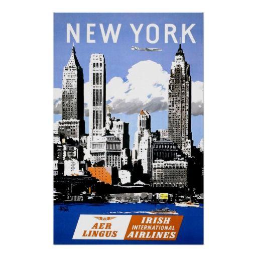 Vintage New York City Air Travel Poster