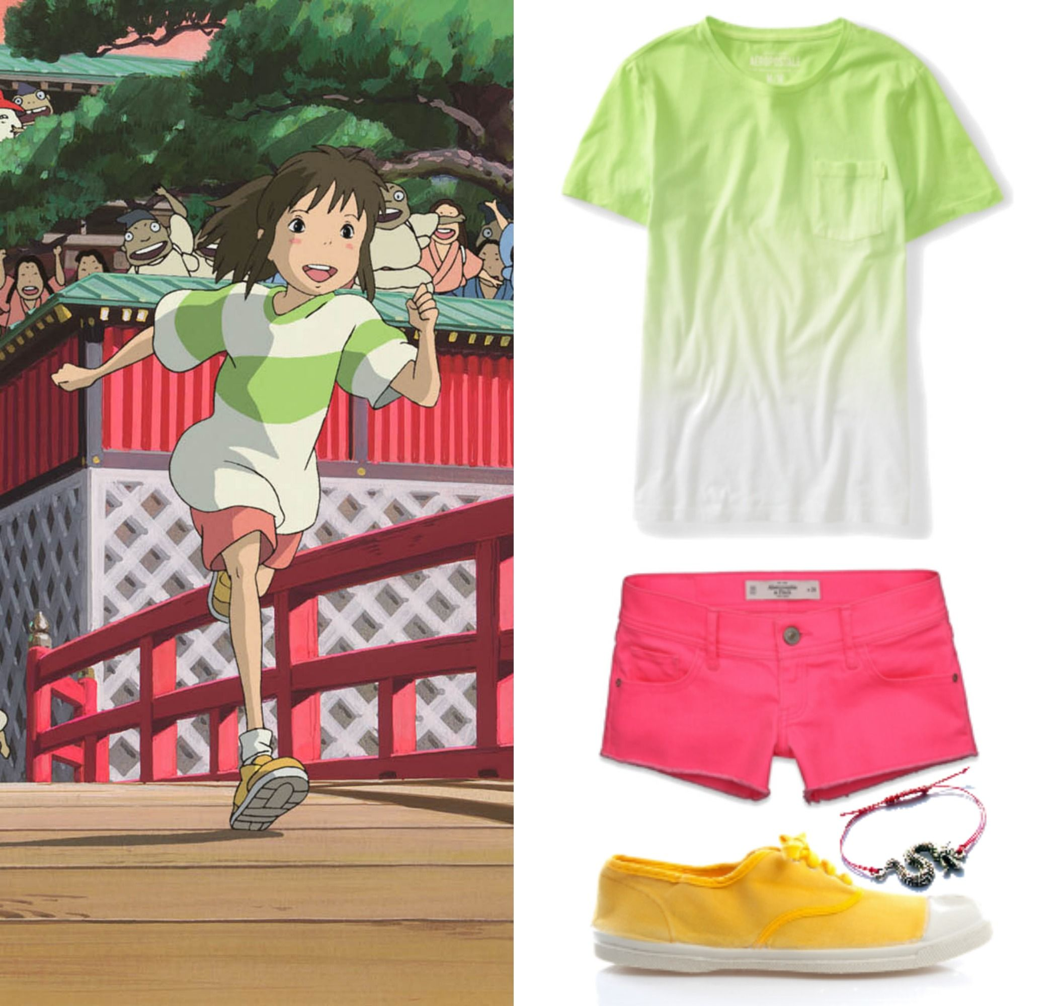 Spirited Away Chihiro Casual Outfit Costume Studio Ghibli Inspired Outfits T Shirt Short Pants Cosplay Set Chihiro Ogino Cosplay Costumes Women S Clothing