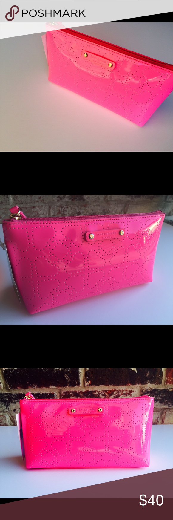 Kate Spade Bag Brand new, pink pink pink, use as a makeup case or to carry small personal items! Kate Spade Bags Clutches & Wristlets
