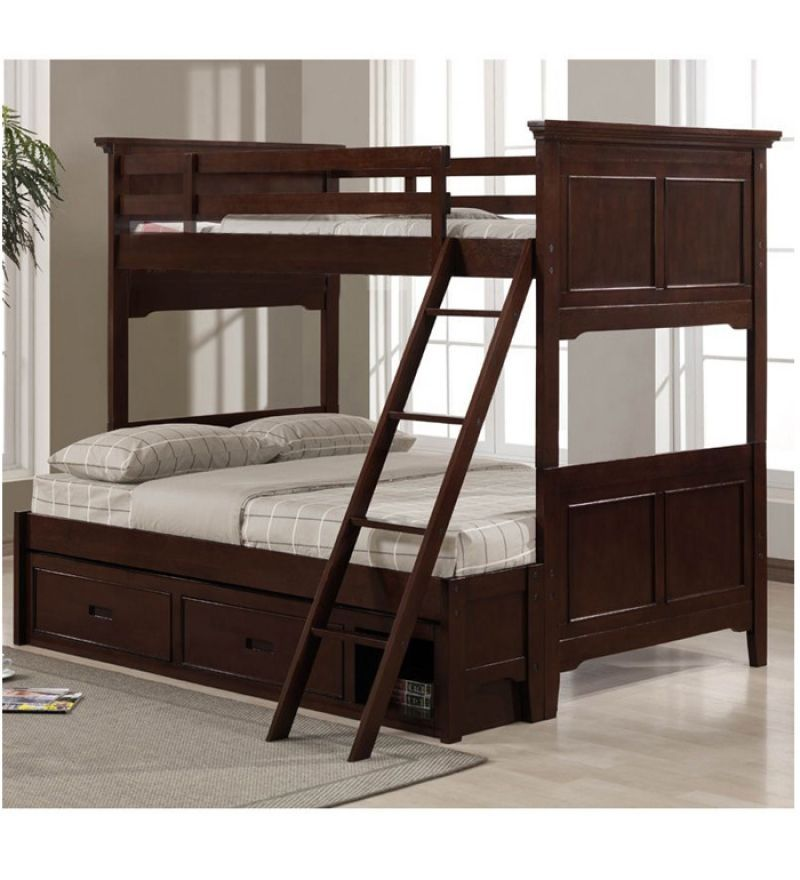 sheesham wood bunk bed with storage drawers bunk beds furniture pepperfry product