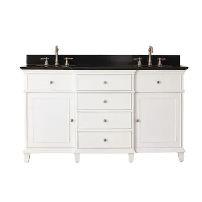 1 814 40 61 In White Double Sink Bathroom Vanity With Black Granite Top In 2020 Double Sink Bathroom Bathroom Sink Vanity Double Sink Bathroom Vanity