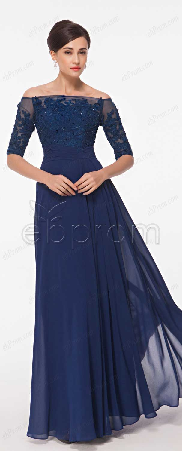 Beaded Lace Navy Blue Prom Dresses With Sleeves Evening Dress Plus