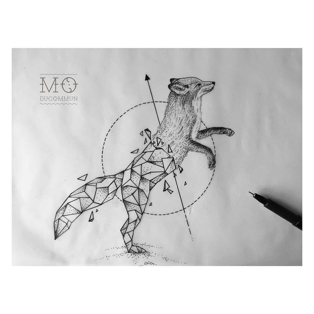 For today fox tattoo tattoos dots dotwork linework blackwork id es tatouages - Tatouage animaux geometrique ...