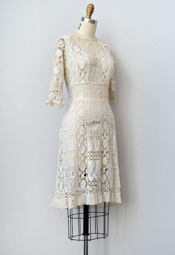 Antique Lace Dress 1910s Crochet