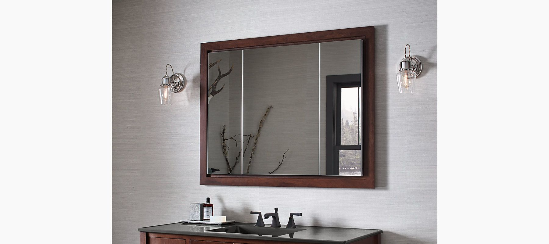 Designed For Easy Installation The K 99011 Medicine Cabinet Features Triple Mirrored Doors And