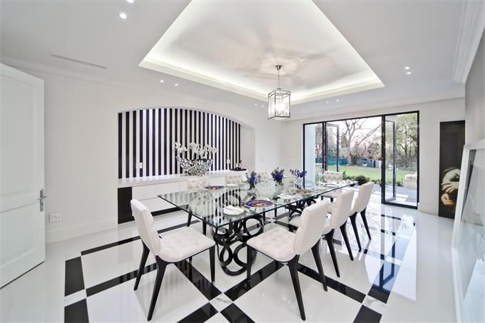 Johannesburg Gauteng South Africa Luxury Home For Sale Luxury Homes Black Dining Room Black And White Dining Room