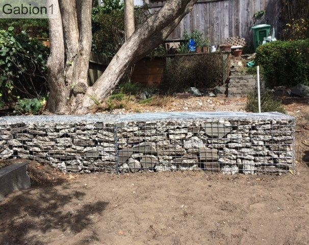 San francisco gabion filled with recycled concrete it for Gabion landscaping