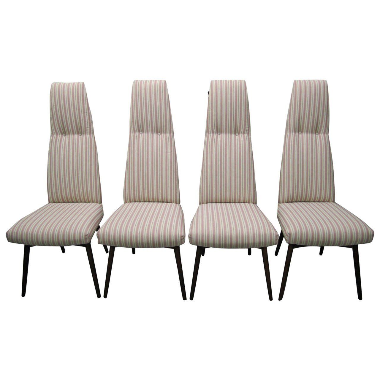 Four Adrian Pearsall High Back Dining Chairs By Craft Associates Mid Century