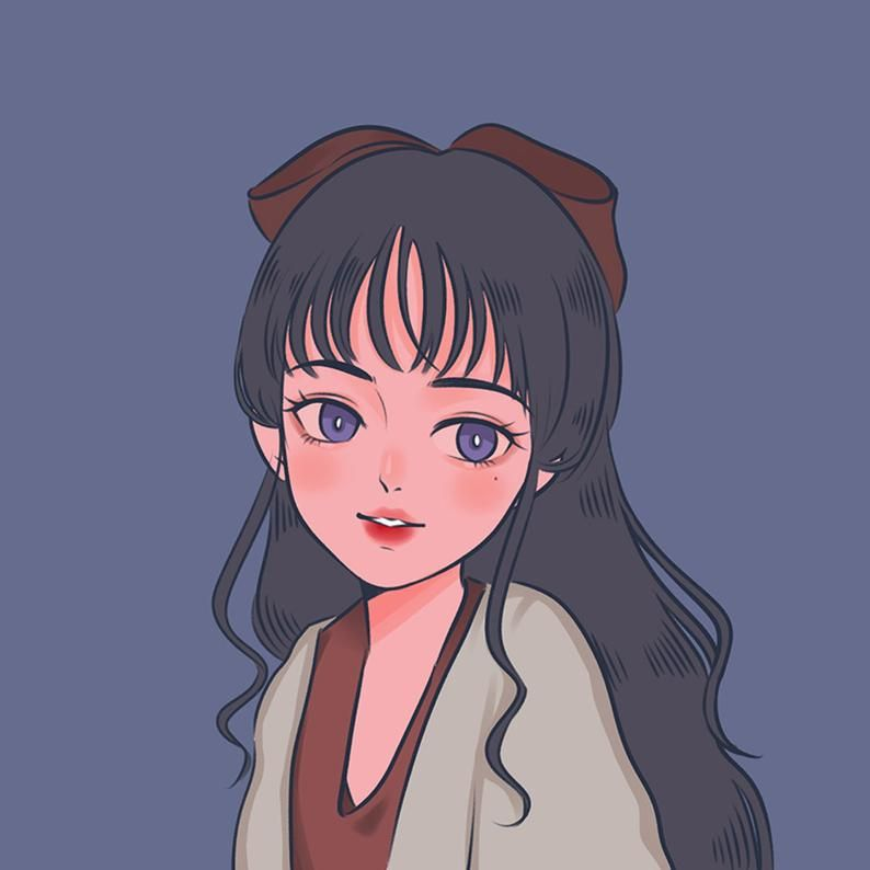Custom cute cartoon portrait, cute anime portrait, illustration portrait from photo, flower frame, Cute personalized gift for family/friends