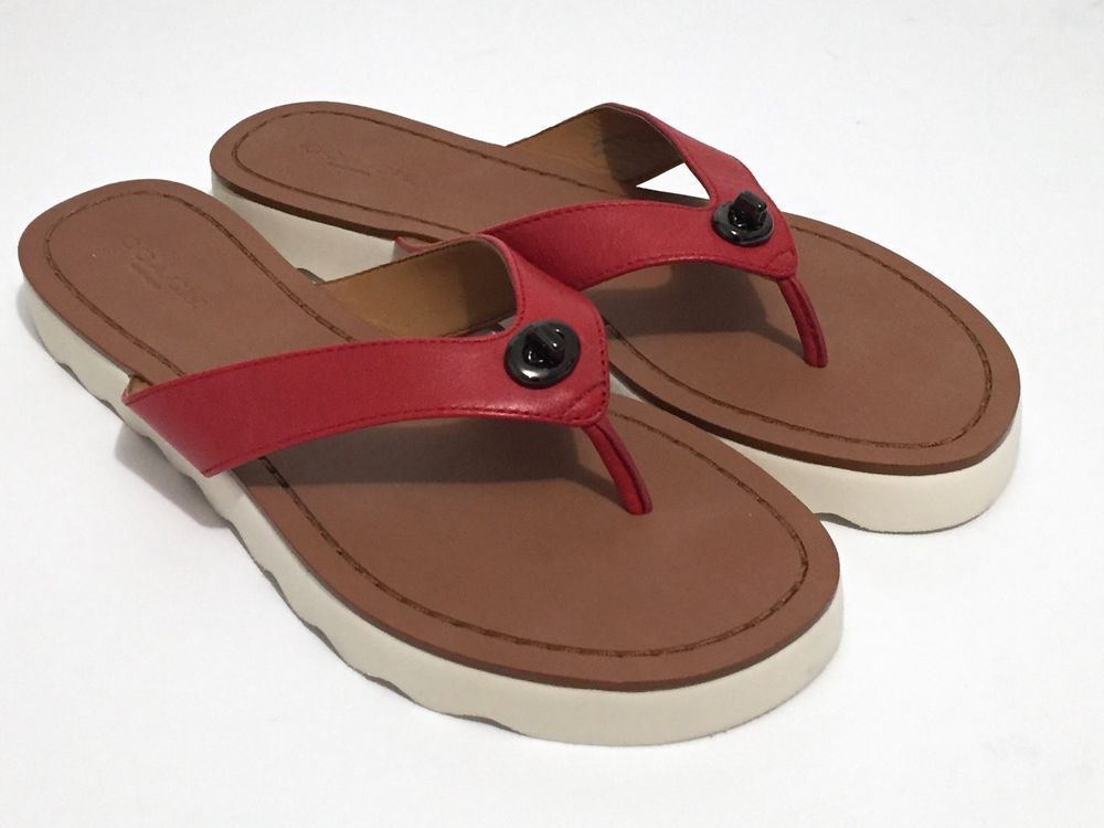 15135080a6c New Coach Shelly Sandals Red Semi Matte Calf Leather Thong Flip Flops Size  6 B
