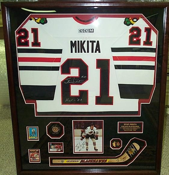 stan mikita autographed chicago blackhawks jersey hockey stick hockey puck shadow box framed by