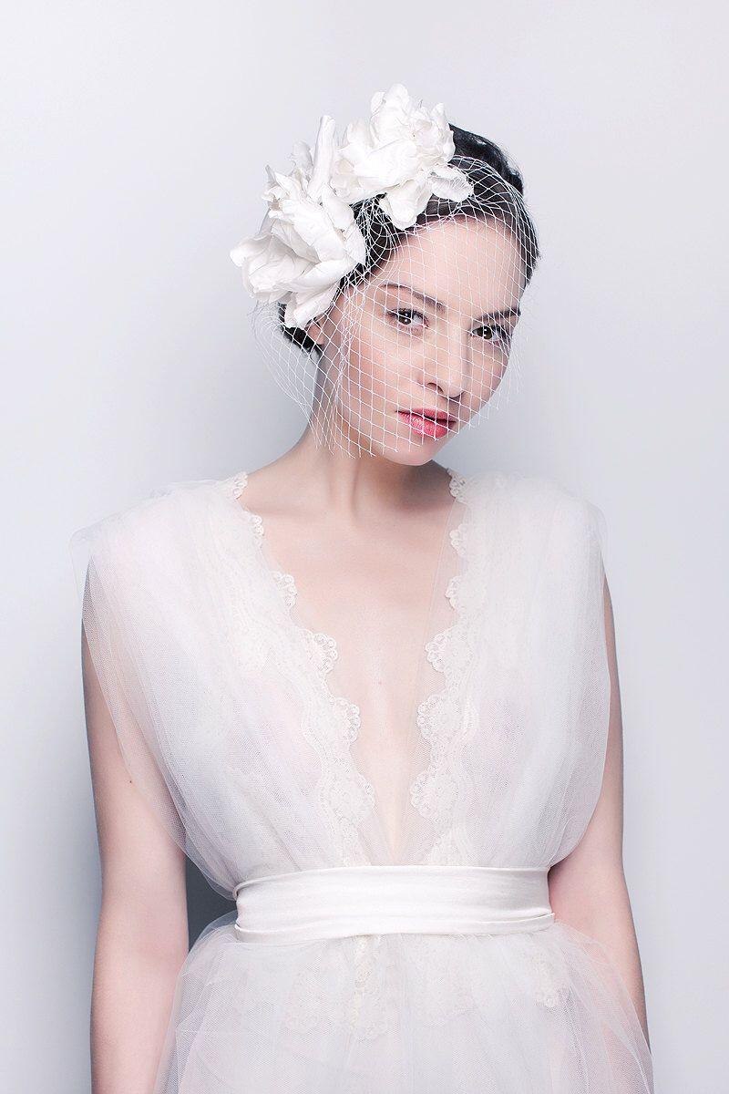 Kiss The Rose silk flowers headband with veil - Silk organza wedding ...