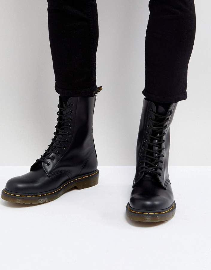 Dr. Martens 1490 10 Eye Boots In Black | British Enthusiast