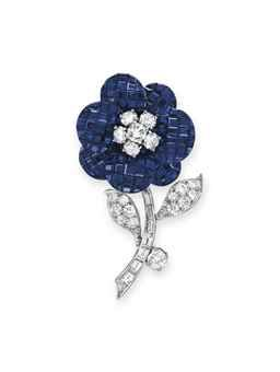 A 'MYSTERY-SET' SAPPHIRE AND DIAMOND FLOWER BROOCH, BY VAN CLEEF & ARPELS